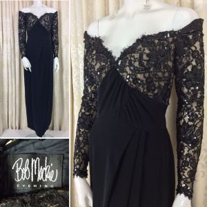Showstopper..Red Carpet! 1980's Bob Mackie Black Lace & Sequin Evening Gown Label: Bob Mackie..Eveni